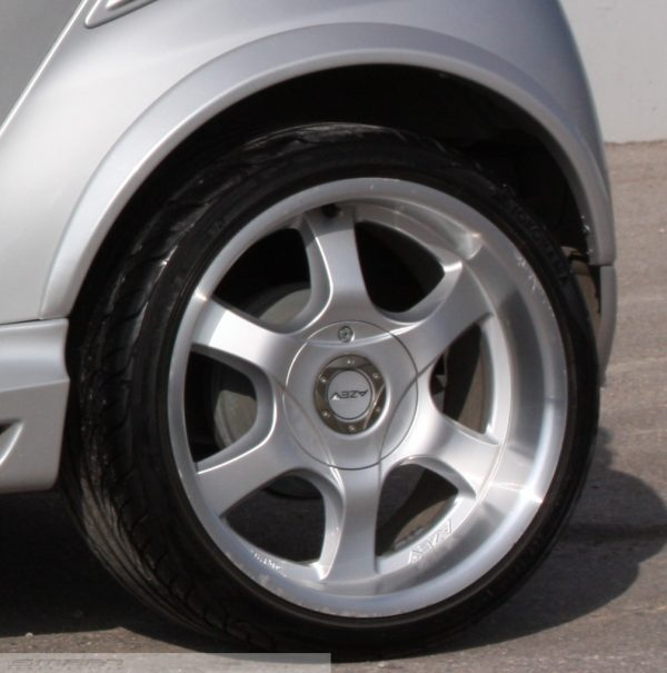Fender flares rear for Smart Fortwo 451 in river silver