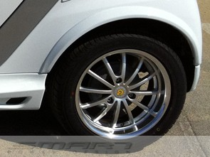 Fender flares rear for Smart Fortwo 451 in color crystal white