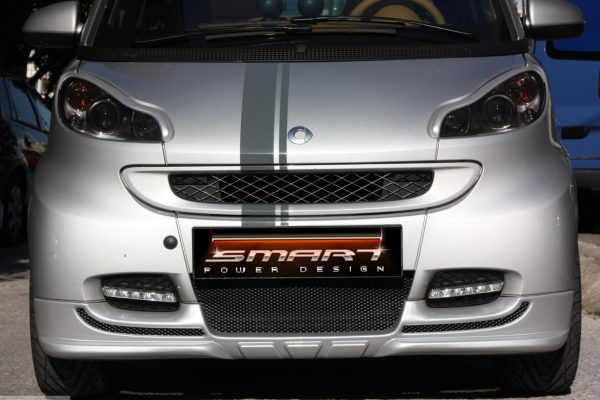 Front spoiler for Smart Fortwo 451 in color silver metallic