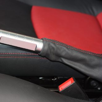 Hand brake handle in finish satine with leather sleeve in color black for Smart Fortwo 451