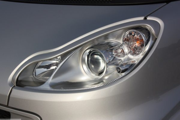 Headlight frames for Smart Fortwo 451 in color silver metallic