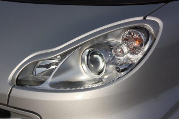 Headlight frames silver smart fortwo 451