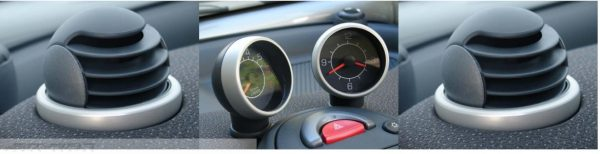Complete Set Rings for the air vents and rings for clock & rev. counter in finish aluminium for Smart Fortwo 450