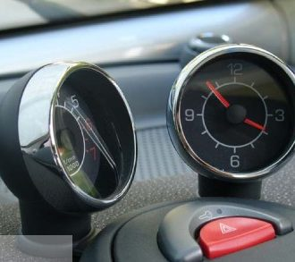 Complete Set Rings for the air vents and rings for clock & rev. counter in finish chrome for Smart Fortwo 450