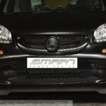 Front grille SLS in color black acrylic with original Smart emblem for Smart Fortwo 453